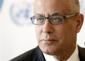 Zeidan Prime Minister of Libya pauses after his address to the 22nd session of the Human Rights Council at the United Nations in Geneva