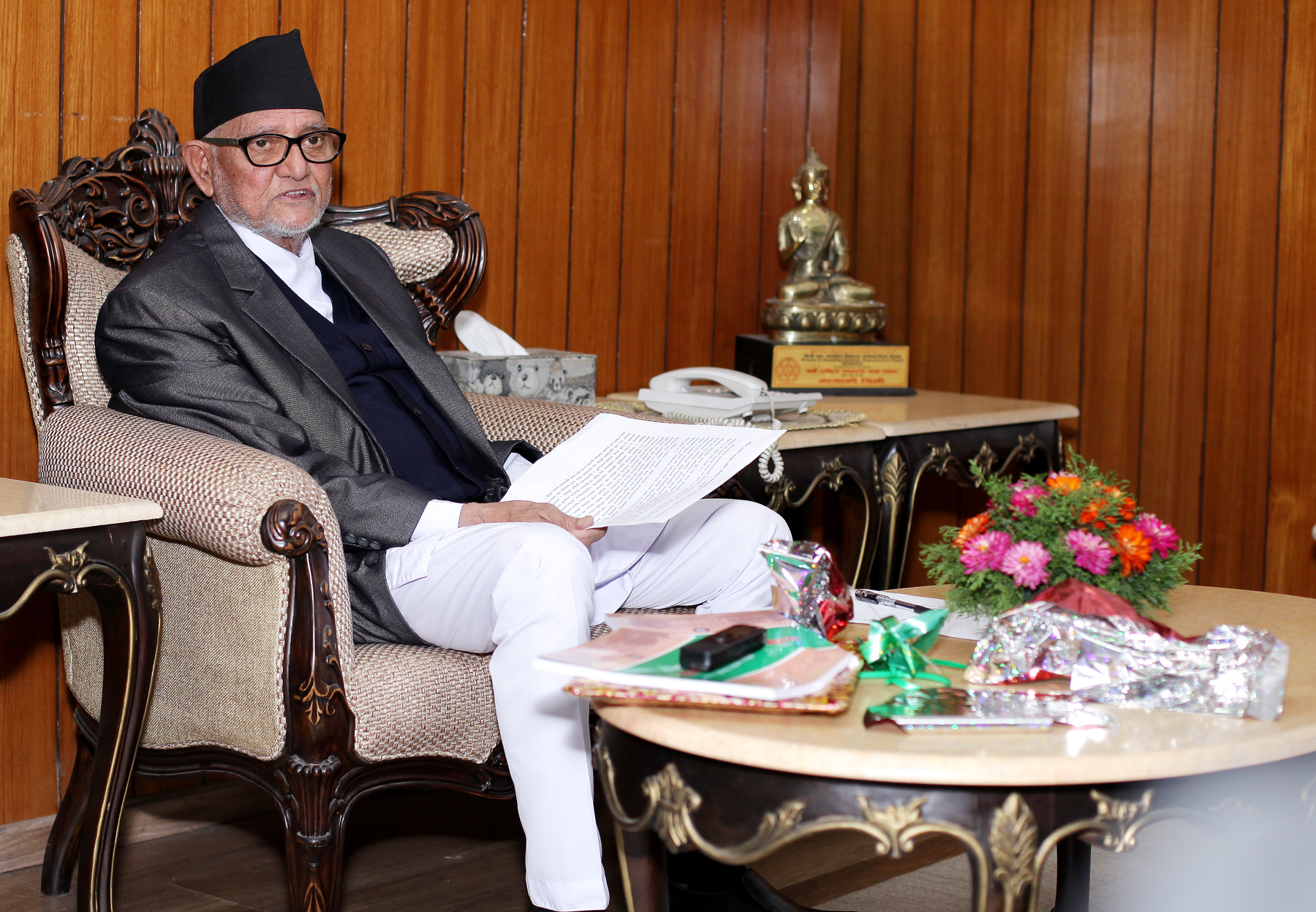 Prime Minister Sushil Koirala addresses a delegation team of National Vigilance Centre during a meeting held on Wednesday at PM's Official Residence, Baluwatar, Kathmandu. Photo: Kumar Shrestha, RSS